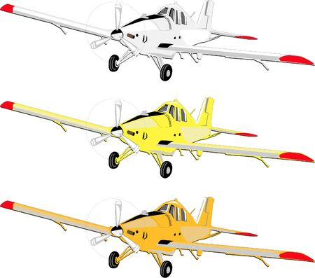 Illustration for Plane from general agricultural aviation in three colors, yellow, white and orange - Royalty Free Image