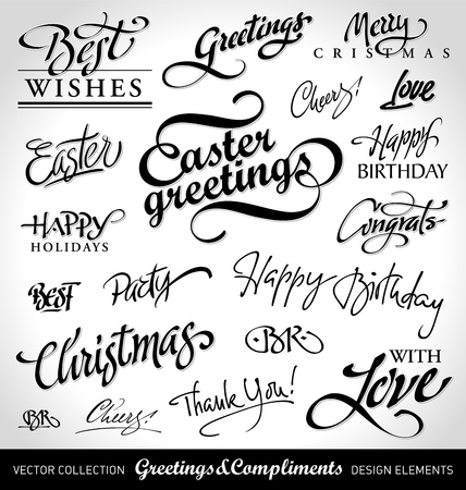 holiday greetings set, hand lettering (vector)