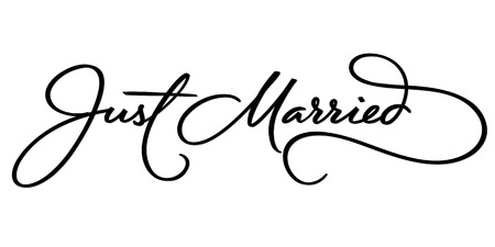 Illustration pour JUST MARRIED hand lettering, vector illustration. Hand drawn lettering card background. Modern handmade calligraphy. Hand drawn lettering element for your design. - image libre de droit