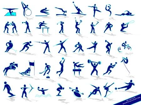 Illustration pour Set blue sports silhouettes, in vector - image libre de droit