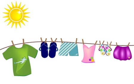 vector background with summer clothes hanging on the thread of the united nations