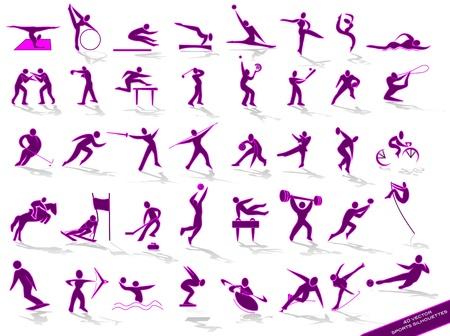 sporting purple silhouettes