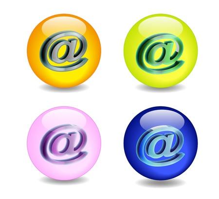 Foto per effetto palla di vetro con l'icona e-mail - Immagine Royalty Free
