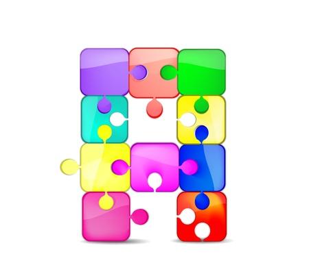 Foto per una lettera con il puzzle colorato - Immagine Royalty Free