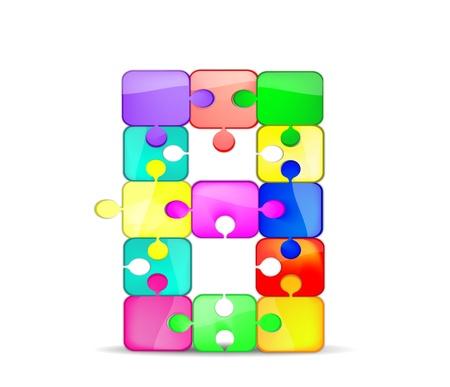 Foto per lettera b con il puzzle colorato - Immagine Royalty Free