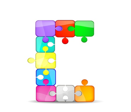Foto per lettera c con il puzzle colorato - Immagine Royalty Free