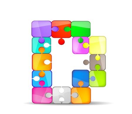 Foto per d lettera con il puzzle colorato - Immagine Royalty Free