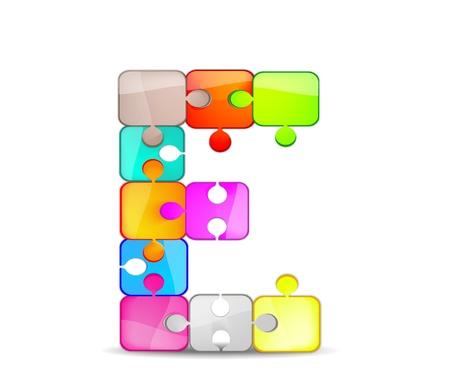 Foto per lettera e con il puzzle colorato - Immagine Royalty Free