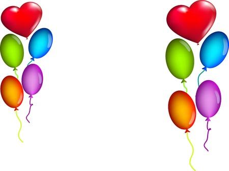 Foto per sfondo bianco con palloncini colorati  - Immagine Royalty Free