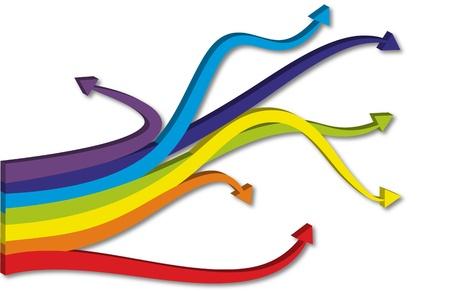 grafica vettoriale con le frecce arcobaleno