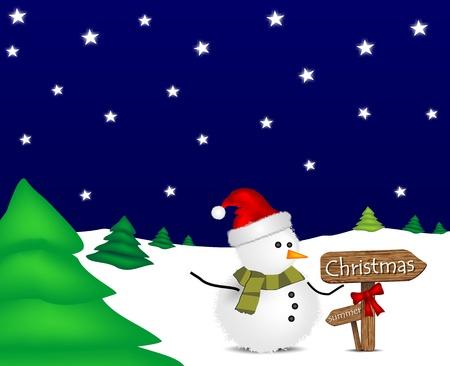 Foto per illustrazione con pupazzo di neve di Natale e segnaletica - Immagine Royalty Free