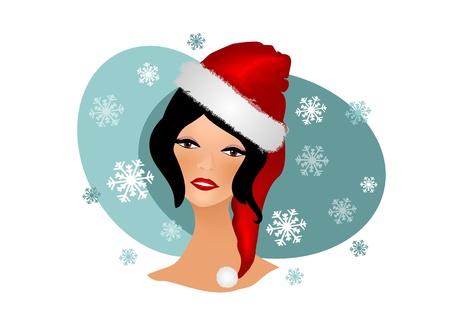Foto per Illustrazione con Una bella donna vestita da Babbo Natale - Immagine Royalty Free