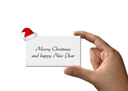 Foto per Mano con Cartolina di Natale  - Immagine Royalty Free
