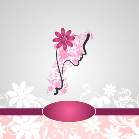 Background with woman s profile with floral decorations