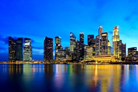 Photo for Singapore city skyline at night - Royalty Free Image