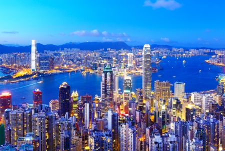 Photo for Hong Kong skyline at night - Royalty Free Image