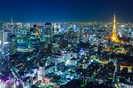 Photo for Tokyo skyline at night  - Royalty Free Image