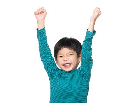 Asia little boy hand up