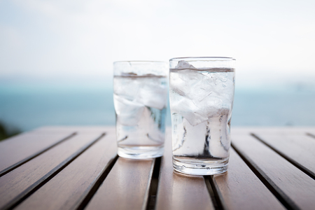 Photo for Glass of water on a table in a restaurant - Royalty Free Image