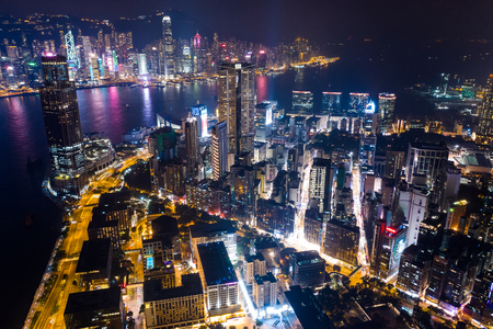 Photo pour Victoria Harbor, Hong Kong 03 September 2018:- Aerial view of Hong Kong urban city - image libre de droit