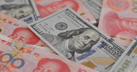 Photo for Chinese banknote RMB and USD - Royalty Free Image