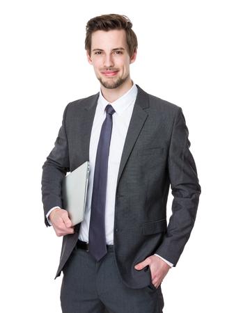 Photo pour Businessman hold with laptop computer - image libre de droit