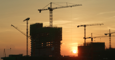 Photo for Construction Site under sunset - Royalty Free Image