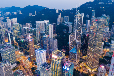 Photo for Central, Hong Kong 11 September 2018:-Hong Kong business district at night - Royalty Free Image