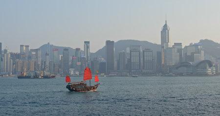 Foto für Victoria Harbor, Hong Kong 14 March 2019: Hong Kong city waterway - Lizenzfreies Bild