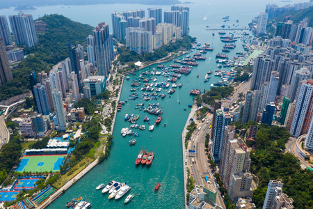 Photo for Top down view of Hong Kong fishing harbor port - Royalty Free Image