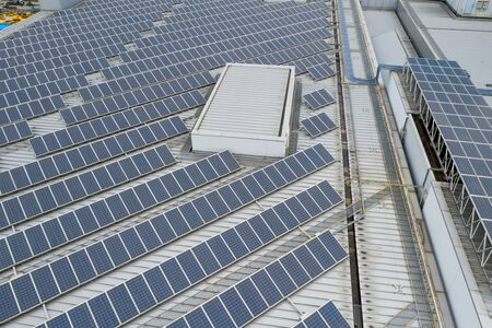 Photo for Solar power energy plant on roof top building - Royalty Free Image