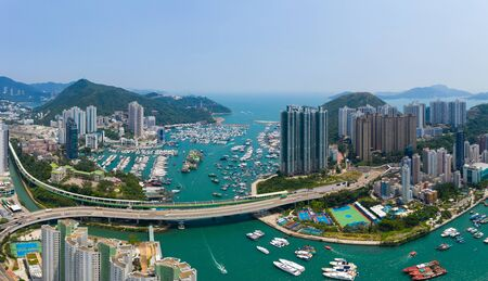 Photo for Aberdeen, Hong Kong 11 May 2019: Top view Hong Kong harbour port - Royalty Free Image