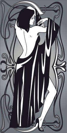 illustration,vector graphics, backdrop ,linear picture,drawing,woman,elegance,beauty, contrasts ,design ,  image