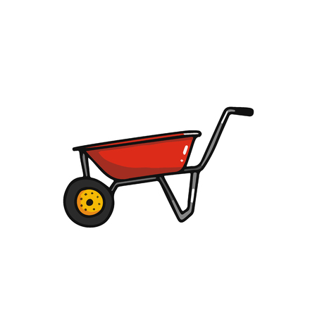 Illustration for Wheelbarrow cartoon icon. Harvesting equipment vector illustration isolated on white - Royalty Free Image