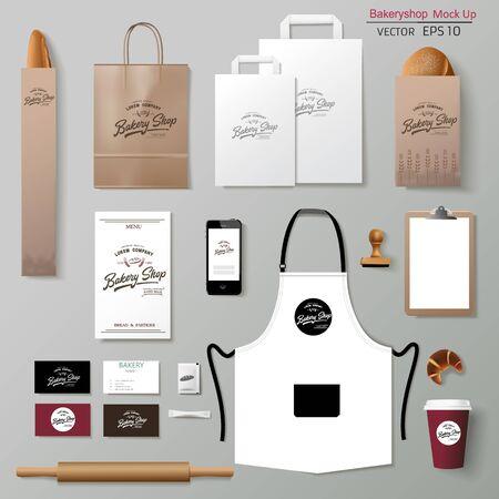 Illustration pour Vector bakery corporate branding identity template design set. - image libre de droit