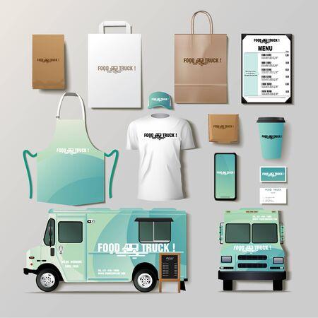 Illustration pour Vector food truck corporate identity template design set. - image libre de droit