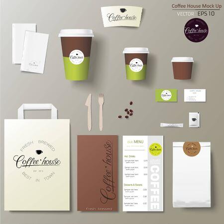 Illustration pour Coffee shop corporate identity template design set with calligraphy . - image libre de droit