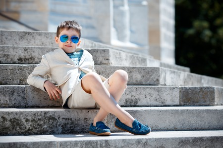 Photo for Little boy in a nice suit and glasses. Back to school. Children portrait. Stylish kid in suit - Royalty Free Image