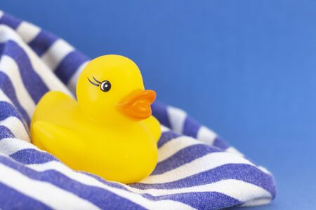 Photo for Rubber duck on a blue background minimally creative concept. bathing babies - Royalty Free Image