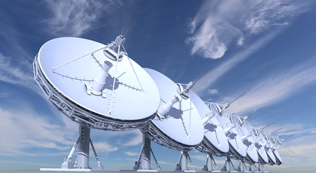 radio telescopes on sky background