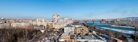 View on Krasnoyarsk and bridge over the Enisei river. Siberia, Russia