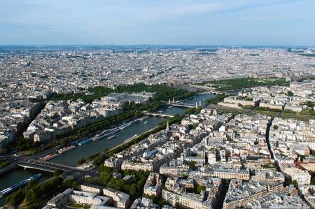 Photo pour Aerial view on river Seine and Paris from Eiffel tower - image libre de droit