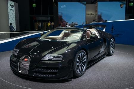 "FRANKFURT, GERMANY - SEPTEMBER 11: Frankfurt international motor show (IAA) 2013. Bugatti Veyron 16.4 Grand Sport Vitesse ""Jean Bugatti� - world premiere"