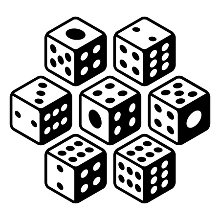 Set of dices Black and white All numbers ranging from one to six and a bonus cheat lucky dice Flat icons. Vector Illustration isolated on white background