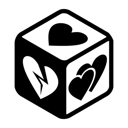 Love is a game Dice with loving hearts and the broken heart on different sides. Symbolic Flat icon. Black and white vector Illustration isolated on white background