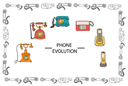 Ilustración de Vector illustration of phone evolution framed in receiver pattern. Vector vintage means of communication set. Retro collection of wired rotary dial telephone, radio phone - Imagen libre de derechos