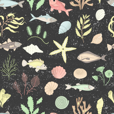 Illustration pour Vector colored seamless pattern of sea shells, fish, seaweeds isolated on black textured background. Colorful repeating marine background. Underwater vintage illustration - image libre de droit