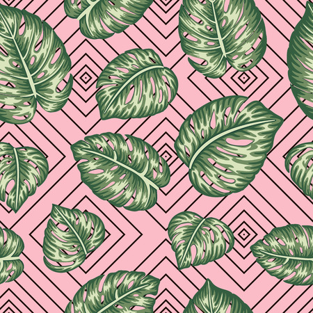 Illustration pour Vector seamless geometric pattern with green monstera leaves on pink background. Repeat tropical backdrop. Trendy exotic jungle wallpaper. - image libre de droit