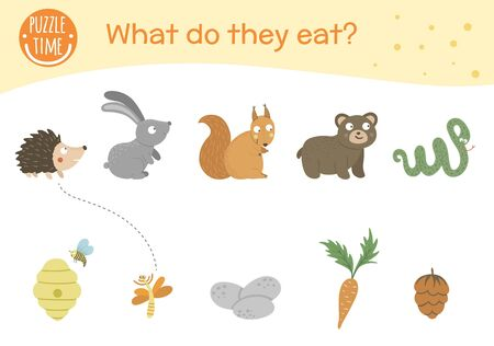 Illustration pour What do they eat. Matching activity for children with animals and food they eat. Funny woodland game for kids. Logical quiz worksheet. - image libre de droit