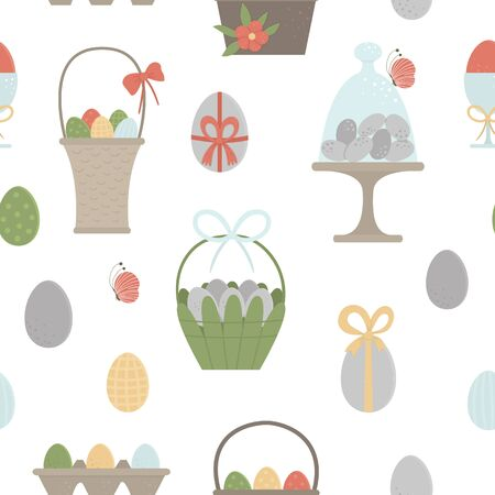 Illustration for Vector seamless pattern with colored eggs, baskets, packaging with bows, butterfly and flowers. Easter background with traditional symbols. Spring digital paper.  - Royalty Free Image